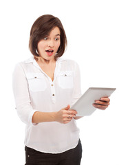 Astonished woman and touchpad