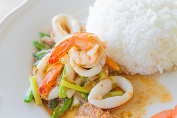 Stir fried chili with seafood , Thai food