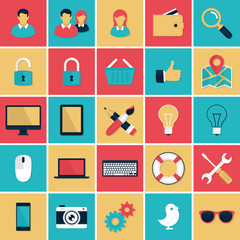 Flat icons vector set for the web and mobile applications