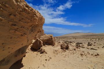 Fuerteventura Erodierter Stein in Wüste