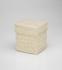 braided birch-bark box, isolated on white background