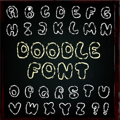 English alphabet in doodle style