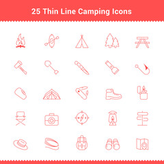 Set of Thin Line Stroke Camping Icons