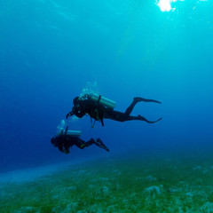 Silhouette of Two Divers near Sea Bottom