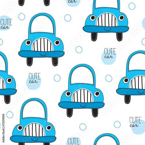 cute car pattern vector illustration - 71359004