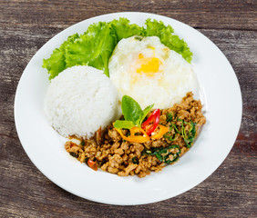 Rice topped with stir fried minced pork and basil