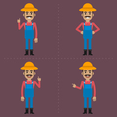 Farmer indicates in different poses