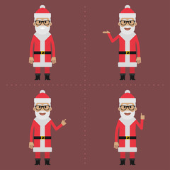 Santa Claus indicates in different poses