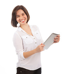 Cheerful woman holding a touchpad