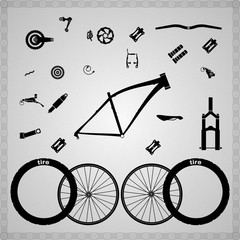 Bicycle components of different types.
