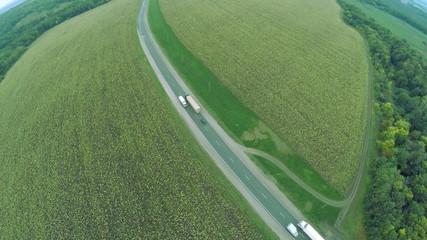 Aerial view. Winding roads, highway in autumn. Highway M7 Volga