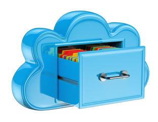 3D Cloud storage services concept
