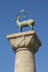 Deer of Rhodes, statue in port of Rhodes