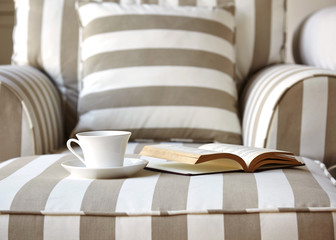 Living room sofa with coffee and book