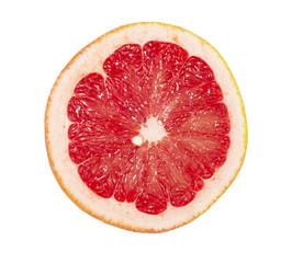 Ripe sliced grapefruit on white