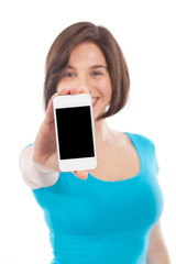 Brunette presenting a smartphone (focus on the phone)