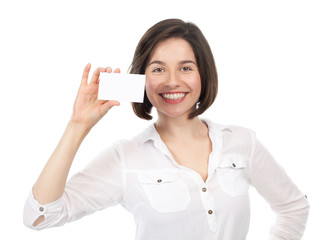 Beautiful woman showing a blank business card