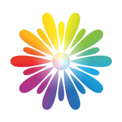 Flower Rainbow Gradient White