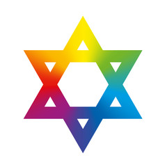Star of David Rainbow Gradient White