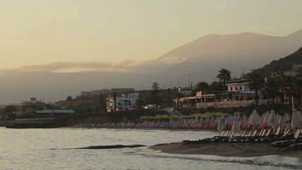 Tropical island resort sunrise.