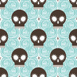 Brown stylized skull seamless pattern