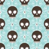 Brown stylized skull seamless pattern