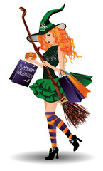 Halloween sale. Sexy redhair witch with shopping bags, vector