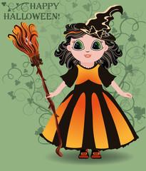 Happy Halloween. Little girl witch postcard