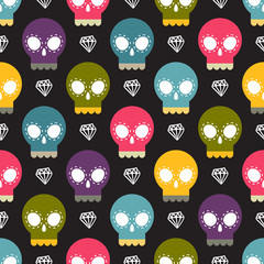 Skull colorful seamless pattern