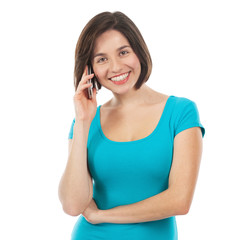 Young brunette talking on the phone