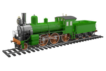 Model of the old green train and rails on a white background