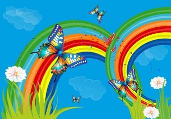 tło z tęczą i motylami,