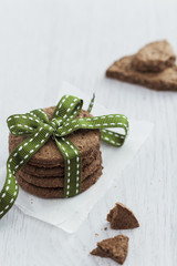 Christmas cookies with green ribbon