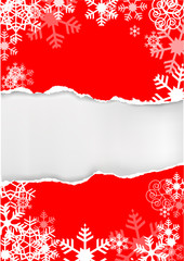 Red grunge snowflakes background