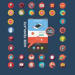 Web template + flat icon set