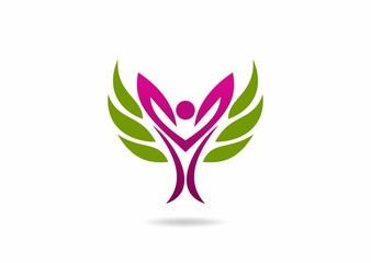 Woman beauty logo, body care symbo