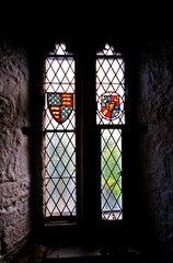 Decorated historical window in Bunratty Castle, Ireland