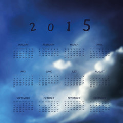 Calendar 2015 - Template Illustration with Blurred Background