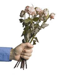 Men presenting dead roses
