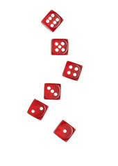 red transparent dice calculation from six to one