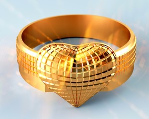 Golden ring in the shape of  heart