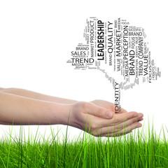 Conceptual tree media word cloud