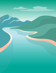 Fresh Water Stream in hilly country. Vector landscape