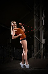 Sporty woman in orange skirt (dark version)
