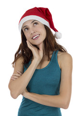 Christmas woman thinking and daydreaming