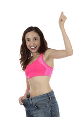 Cheering successful weight loss fitness woman