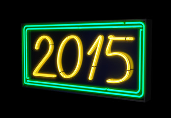 Neon light 2015 sign green and yellow
