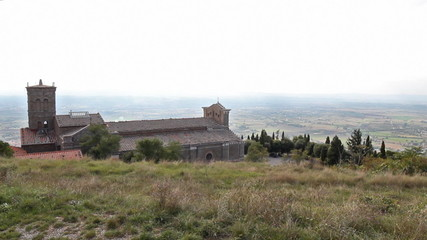 time lapse of the Cortona Cathedral in Tuscany, Italy