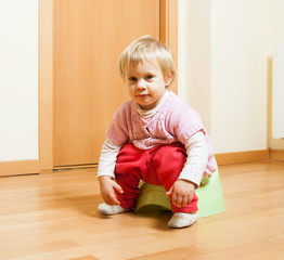 Toddler  on potty at home