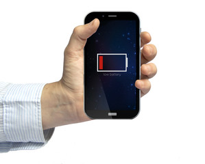 holding a low battery smartphone